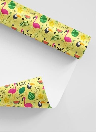 LWP Shop 3'lü Hediye Kaplama Kağıdı 3 Tip Flamingo Renkli